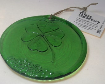 Recycled glass Four Leaf Clover suncatcher, green four leaf clover ornament, window art