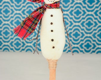 Whimsical Skinny Snowman, Primitive Snowman on Textile Bobbin, Fleece Snowman