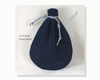 Black Suede Pouch, Size 6 x 8-inches, Old Fashioned Quality Drawstring Pouch, Heavy Duty Bag for Storing, Collecting, Special Present