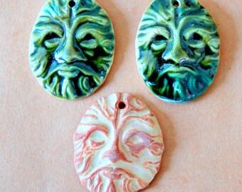 3 Ceramic Pendant Beads - Greenman Beads