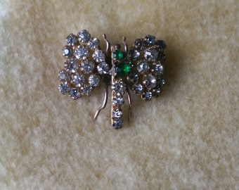 Antique Brass Dragonfly Collar or Shawl Fastener with Crystals