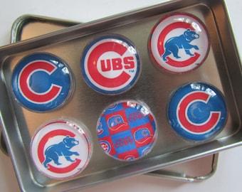 Chicago Cubs Fridge Magnets, Chicago Cubs Decor, Chicago, Chicago Cubs, Chicago Cubs Baseball Refrigerator Magnets Set of 6