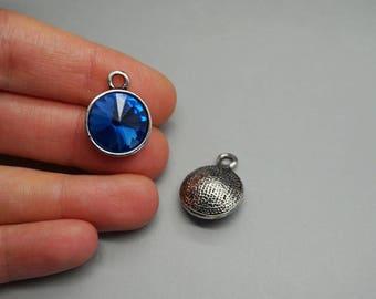 Silver Pendant charm blue stone Crystal Pearl birthstone (G83)