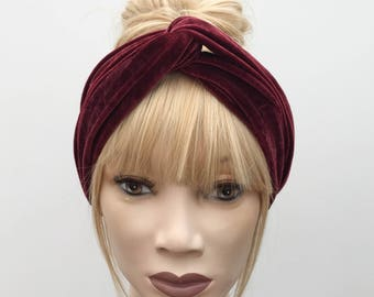 Rich ruby red luxury velvet velour turban twist knot headband