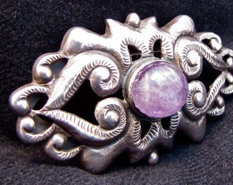 Vintage Mexican Sterling and Amethyst Brooch