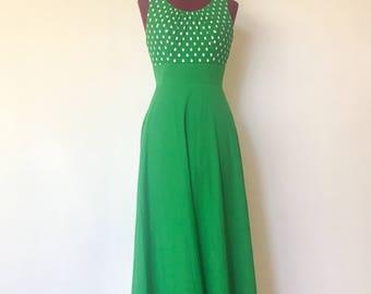 60s Maxi Dress Green Polkadots Halter Dress Size S M by LiLi