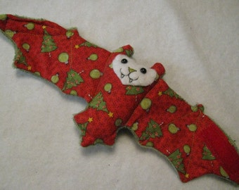 Olive Nosed Christmas Ornaments and Trees on Red with Green Faux Fur Bat Coffee Cozy, Cup Sleeve, Stuffed Animal