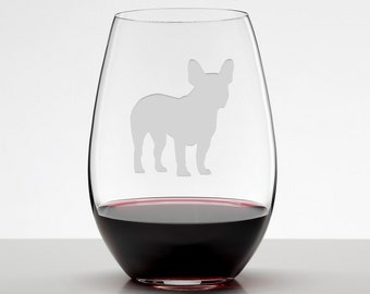 French Bulldog, Wine Glass, Frenchie Glass, Etched Stemless Wineglass