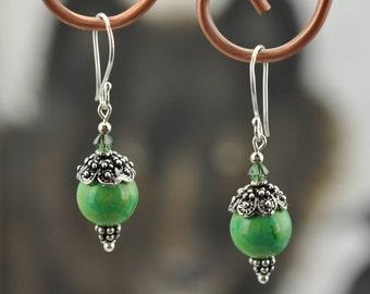 Green Turquoise .925 Silver dangle Earrings