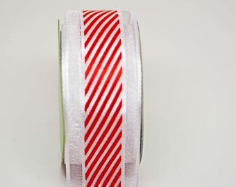 BULK Red White Candy Stripe Sheer Ribbon -- 5 yards - 1 1/2 Inch -- Red White Holiday Christmas