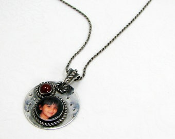 Rustic, Oxidized Sterling Photo Pendant with Carnelian