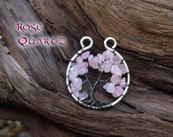 Cherry Blossom Tree of Life Pendant // pink rose quartz Bonsai Tree of Life Necklace