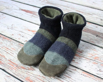 Mens slippers 10-11 US ~ felted wool and Suede Slippers with cashmere lining - Eco friendly - One Pair available