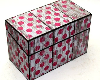 Wood Recipe Box Faux Barn Wood Large Pink Polka Dots Fits 4x6 Recipe Cards