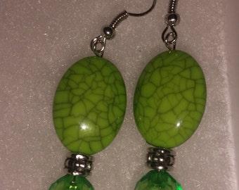 Green fashion earrings