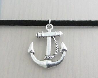 Silver Anchor Charm Black Faux Suede Choker Necklace, 3mm Width Black Faux Suede Choker Necklace, Anchor Charm Necklace, Nautical Choker