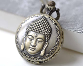1 PC Antique Bronze Buddha Head Religious Pocket Watch 38x38mm A7973