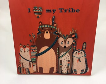 I Love my Tribe Wood Wall Art, Cabin or Nursery Decor, Colorful Graphic Art print on wood, woodland animals, Fox, Bear, Deer, Bunny