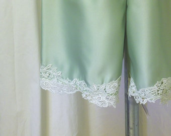 Matte Satin Bloomers, Pantaloons, Knickers, Tap Pants in Light Sage Green w/ Pale Green Vintage Lace Trim, Size S