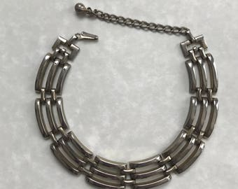 Vintage silver necklace choker link  triple design mid century fashion accessories