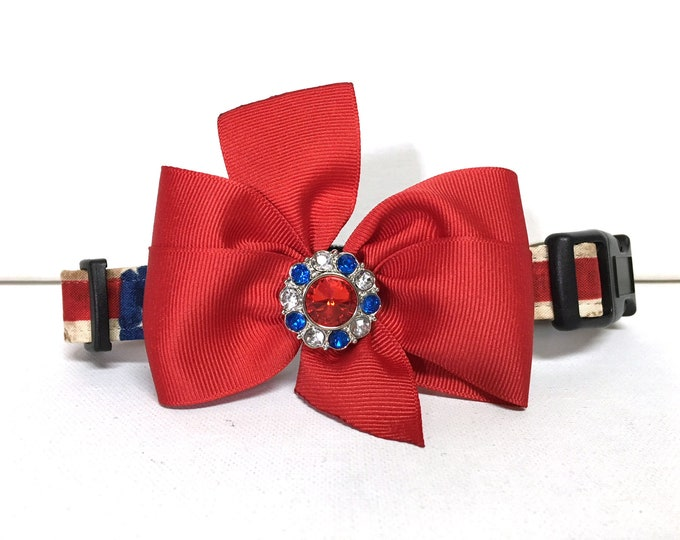 Featured listing image: Dog Collar- The Americana- with removable bow- Adjustable collar
