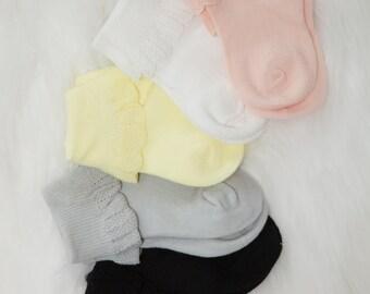 Baby Girl Socks 0-12ms Mulpiple Color Socks with Beautiful Trim