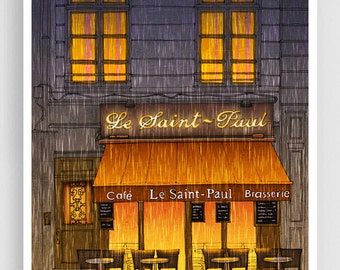 Paris illustration - Rainy day - Illustration Giclee Art Print Paris in the rain Prints Posters Home decor Wall decor Architectural drawing
