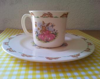 Bunnykins/Plate and cup set Royal Doulton Bunnykins/tableware/rabbits/Children's tableware/Baby set/Bunnykins vintage/Vintage Mug/