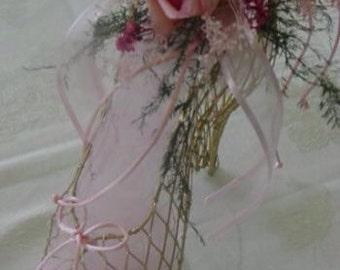 Shoe decoration. High heel shoe decor.Bridal shower centerpiece. Wedding shoe decor. Quinces shoe decorations. Wire shoe. Bridal shower
