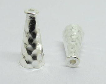 2 Pieces Cone Beads 925 Sterling Silver Hammered Textured 16mm Long