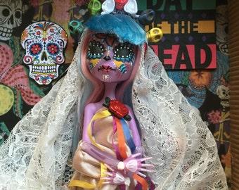 """Ooak monster high doll """"La Katrina purple """"Day of the death"""" (día de los muertos)"""