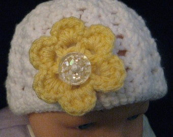 Crochet 6 to 9 months Baby Girl's Interchangeable Assorted Flowers Hat with Hand Sewn Button Affordable Clothing Free Shipping