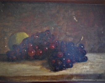 19th cent Impressionist Still Life Grapes with a lemon  Oilpainting unidentified artist.