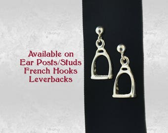 Horse Rider's Stirrups Pair of Charm Earrings in Sterling Silver 925 Solid Jewelry, Earring Studs, French Hooks or Leverback Choice