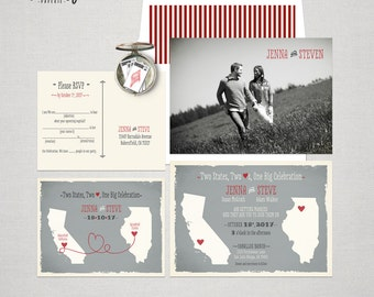 Destination wedding invitation Two States Two Hearts One Big Celebration Wedding Invitation and Fun  Mad Libs RSVP Cards DEPOSIT Payment