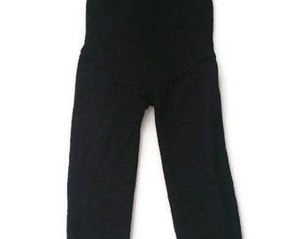 2t - 3t black wool longies / wool diaper cover / pants