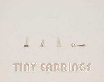 Tiny Stud Earrings - Sterling Silver Stud Earrings - 2mm Stud Earrings - 1mm Ball Stud Earrings - Minimalist Earrings - Everyday Wear