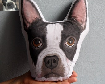 Boston Terrier Dog Pillow, Custom Pet Portrait  Pillow ,  Personalized  gift for pet lovers, dog pillow, cat pillow