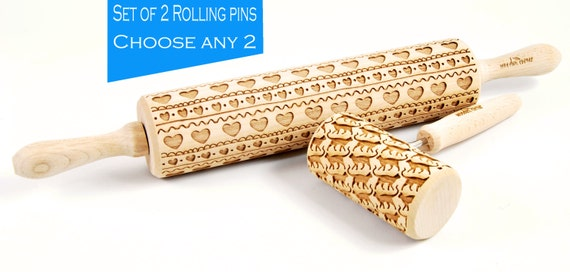 Large + MIDI Set of two engraved rolling pins rollers Roller Embossed