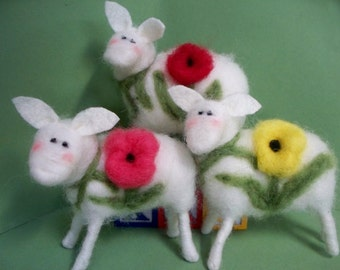 Bloomin Ewe (1) Felted Wool Sheep with Flower - NEW for 2013