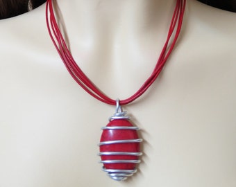 Silver And Red, Silver And Red Jewelry, Red Stone Necklace, Red Stone Jewelry, Wire Wrapped Pendant, Wire Wrapped Stone, Red Leather Jewelry