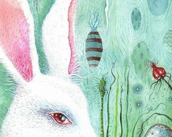 Bunny and eggs original painting