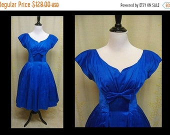 30% OFF ENTIRE STORE Vintage 1950s Dress - Beautiful Cerulean Blue Satin 50s Party Prom Dress with Tailored Tucks and Drape