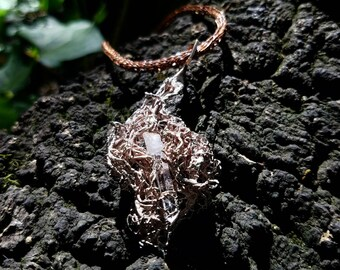 NorCal Wolf Lichen and Hexagon Shibuichi Pendant  with Oregon Quartz and Copper Viking Chain