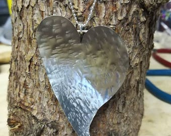 Silver jewellery. Silver heart pendant. Statement large solid sterling silver heart pendant. Heart necklace. Silver necklace.