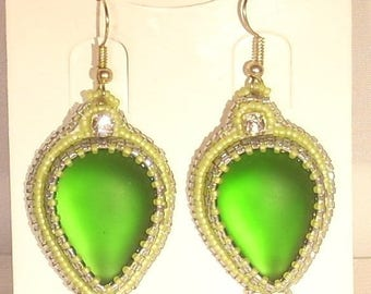 Embroidered earrings rhinestone green glass and clear swarovski crystal pendants
