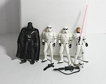 1990s Star Wars Figurine,Luke Skywalker as Storm Trooper,Darth Vader Figure,Star Wars Storm Trooper Figure,Star Wars Action Figure,Star Wars