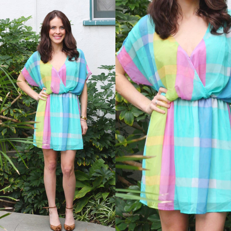 PASTEL PLAID DRESS Show Me Your MuMu Day Dress Chiffon Short