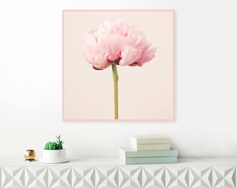 Peony Flower Print, Printable Still Life Peony Photograph, Peonies, Pink Nursery Art, 16 x 16 Floral Poster, Botanical Nature Art, Vintage