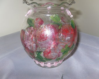 Spring Candle Holder Votive Glass Rose Cascade Pink Vase
